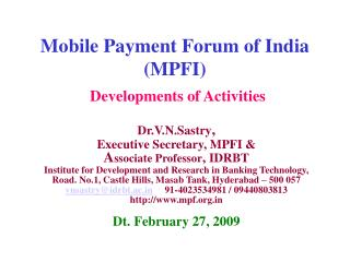 Mobile Payment Forum of India (MPFI)