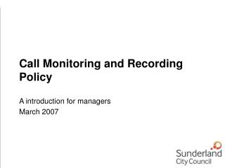 Call Monitoring and Recording Policy