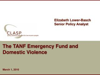 The TANF Emergency Fund and Domestic Violence