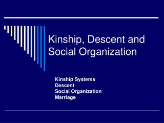 Kinship, Descent and Social Organization