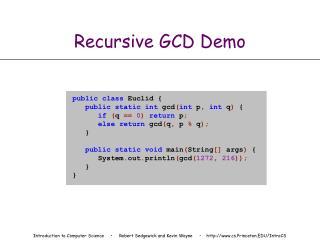 Recursive GCD Demo