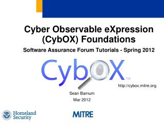Cyber Observable eXpression (CybOX) Foundations Software Assurance Forum Tutorials - Spring 2012