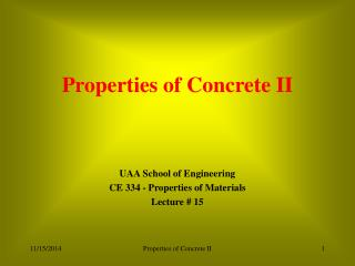 Properties of Concrete II
