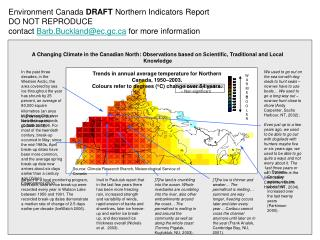 Environment Canada DRAFT Northern Indicators Report DO NOT REPRODUCE contact Barb.Bucklandec.gc for more information