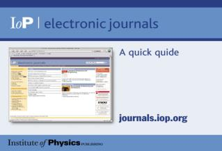 Welcome! A quick guide to IOP's Electronic Journals Contact us