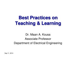 Best  Practices on  Teaching & Learning