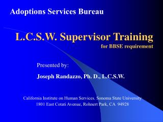 L.C.S.W. Supervisor Training for BBSE requirement