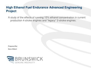 High Ethanol Fuel Endurance Advanced Engineering Project