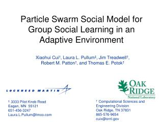 Particle Swarm Social Model for Group Social Learning in an Adaptive Environment