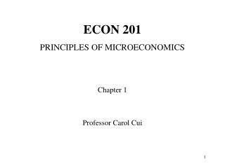 ECON 201 PRINCIPLES OF MICROECONOMICS