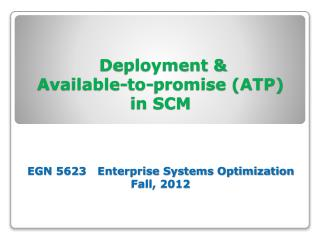 Deployment & ATP CTP Modules in SCM