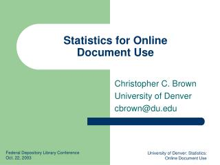 Statistics for Online  Document Use