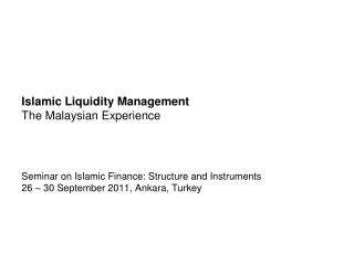 Islamic Liquidity Management The Malaysian Experience