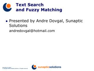 Text Search  and Fuzzy Matching