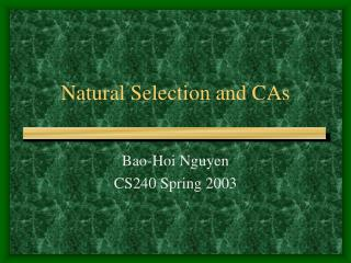 Natural Selection and CAs