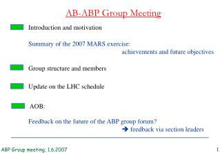 AB-ABP Group Meeting