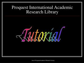 Proquest International Academic Research Library
