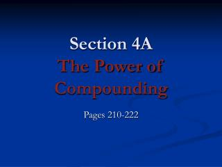 Section 4A The Power of Compounding
