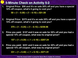 5-Minute Check on Activity 5-2