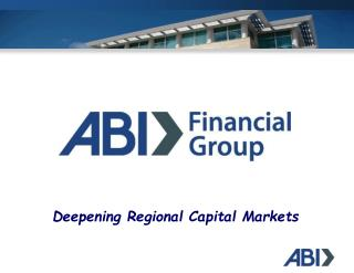 Deepening Regional Capital Markets