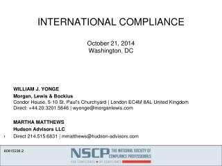 INTERNATIONAL COMPLIANCE October 21, 2014 Washington, DC
