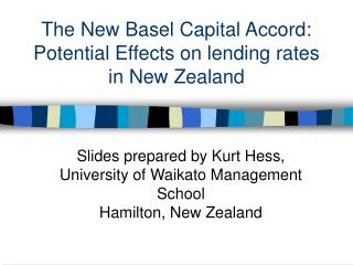 The New Basel Capital Accord:  Potential Effects on lending rates in New Zealand