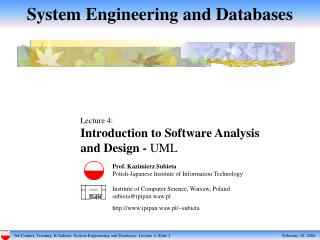 System Engineering and Databases