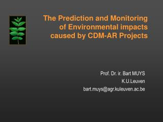 The Prediction and Monitoring of Environmental impacts caused by CDM-AR Projects
