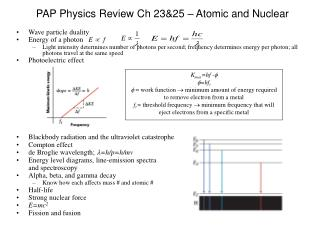 PAP Physics Review Ch 23&25 – Atomic and Nuclear