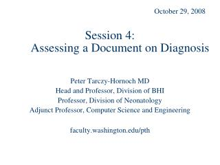 Session 4:  Assessing a Document on Diagnosis
