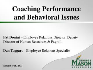 Coaching Performance and Behavioral Issues