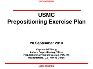 USMC  Prepositioning Exercise Plan