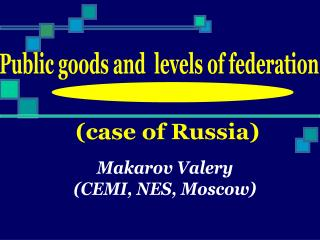 Public goods and  levels of federation