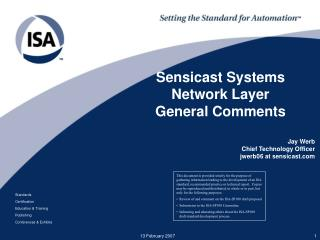 Sensicast Systems Network Layer General Comments
