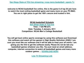 San Diego State at TCU live streaming | ncaa mens basketball