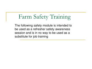 Farm Safety Training