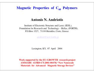Magnetic  Properties  of  C 60   Polymers Antonis N. Andriotis