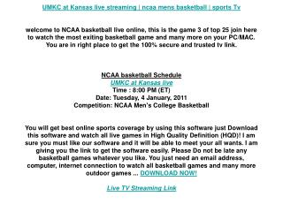 UMKC at Kansas live streaming | ncaa mens basketball | sport