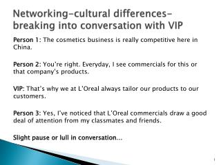 Networking-cultural differences-breaking into conversation with VIP