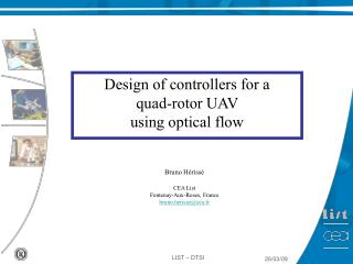 Design of controllers for a  quad-rotor UAV  using optical flow