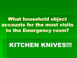 What household object accounts for the most visits to the Emergency room?