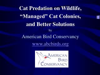 "Cat Predation on Wildlife,  ""Managed"" Cat Colonies, and Better Solutions by"
