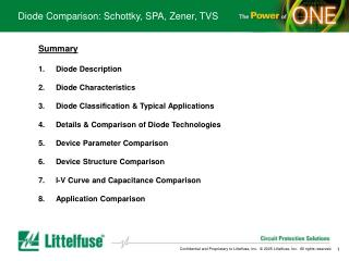 Diode Comparison: Schottky, SPA, Zener, TVS