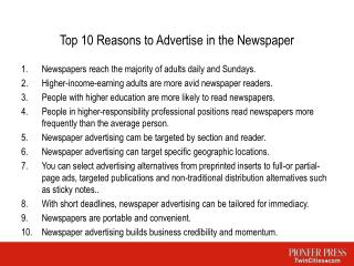 Top 10 Reasons to Advertise in the Newspaper