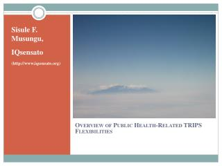 Overview of Public Health-Related TRIPS Flexibilities