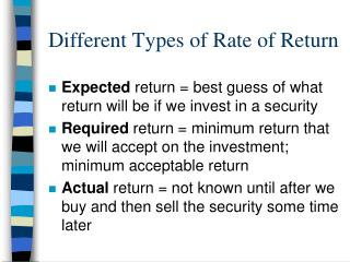 Different Types of Rate of Return