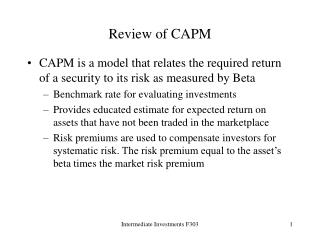 Review of CAPM