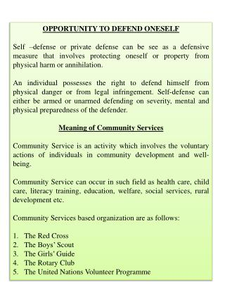 OPPORTUNITY TO DEFEND ONESELF