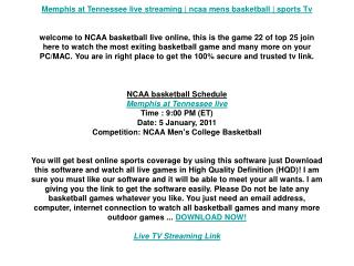 Memphis at Tennessee live streaming | ncaa mens basketball |
