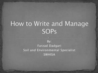 How to Write and Manage SOPs